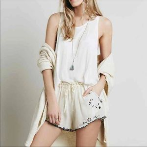 Free people chiffon embroidered shorts